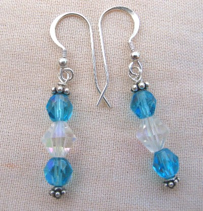 Faceted Czech Glass, Leaded Crystal AB and Bali Sterling Silver