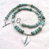 African Turquoise and Hill Tribe Silver Ncklace