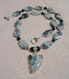 Picasso Jasper, Black Onyx and Sterling Silver Necklace