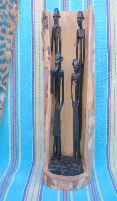 "Wood Carved ""Four Figures in Bark"" Sculpture"